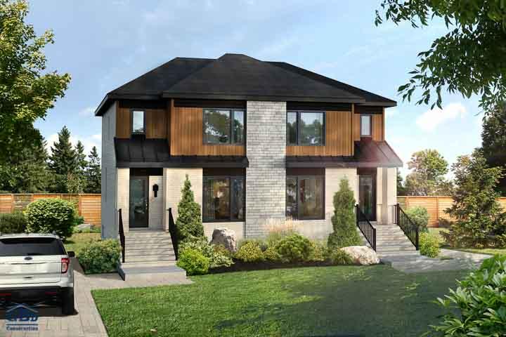 maison neuve condo neuf maison jumel e maison de ville gbd construction. Black Bedroom Furniture Sets. Home Design Ideas