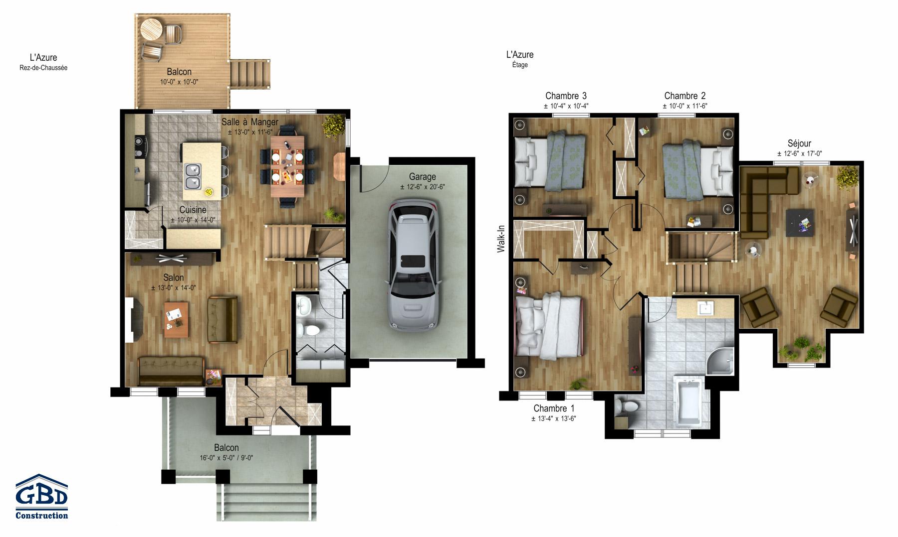Azure maison neuve deux tages de type cottage gbd for Plan maison deux etages