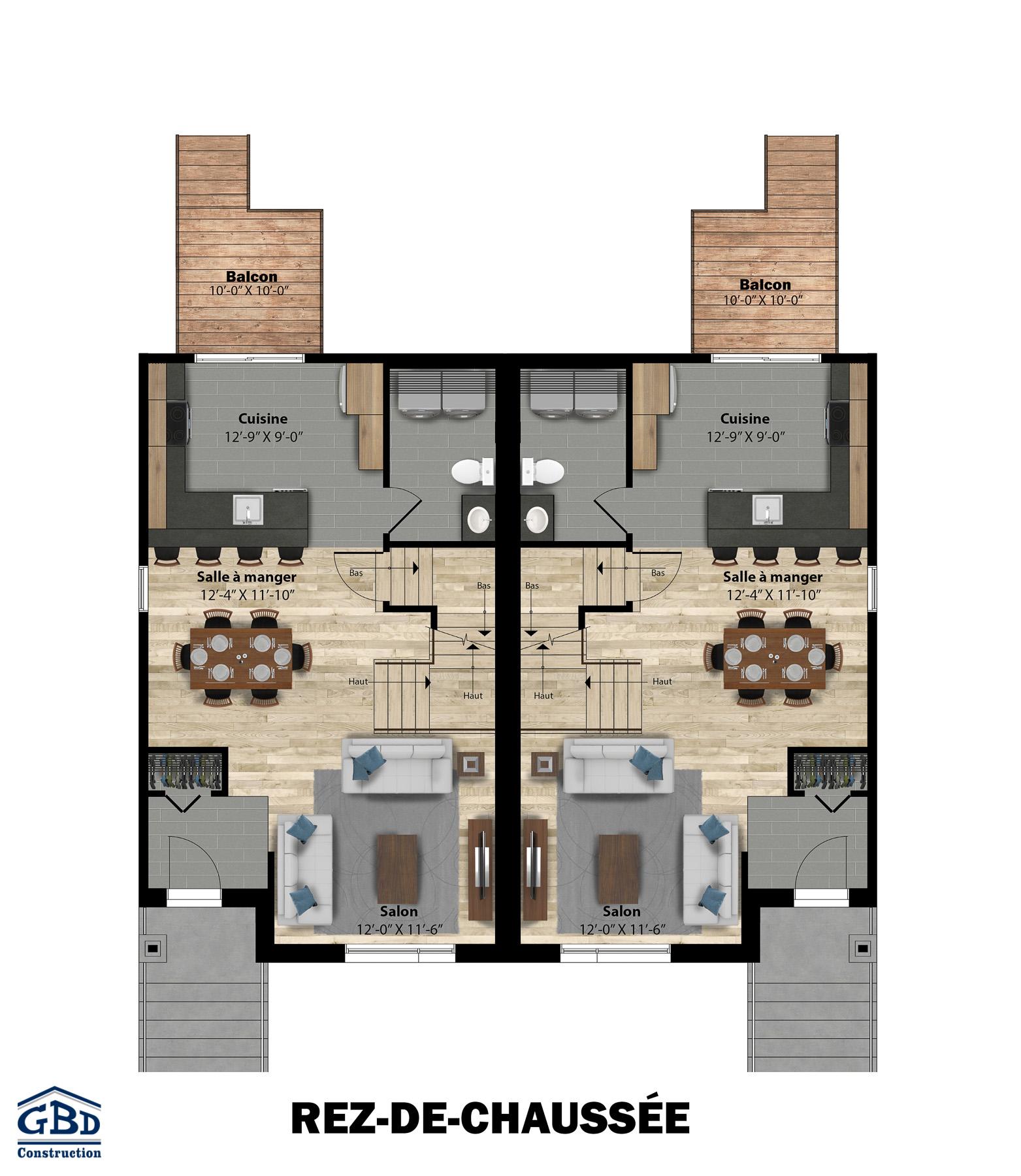 Berge maison neuve jumel e gbd construction for Plan maison jumelee gratuit