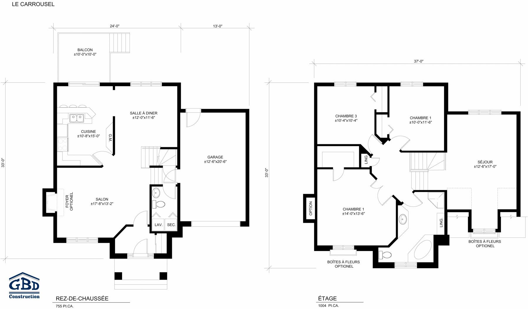 Carrousel maison neuve deux tages de type cottage for Plan maison deux etages