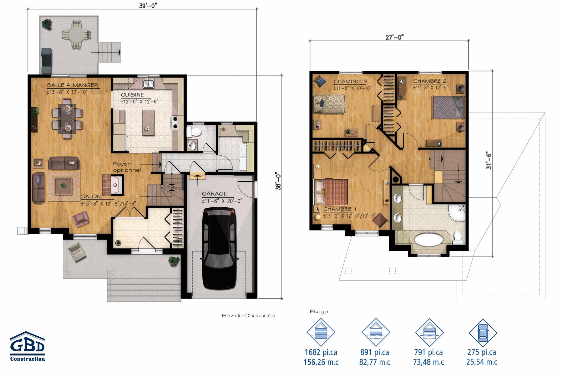 Chaumi re maison neuve deux tages de type cottage for Plan maison deux etages