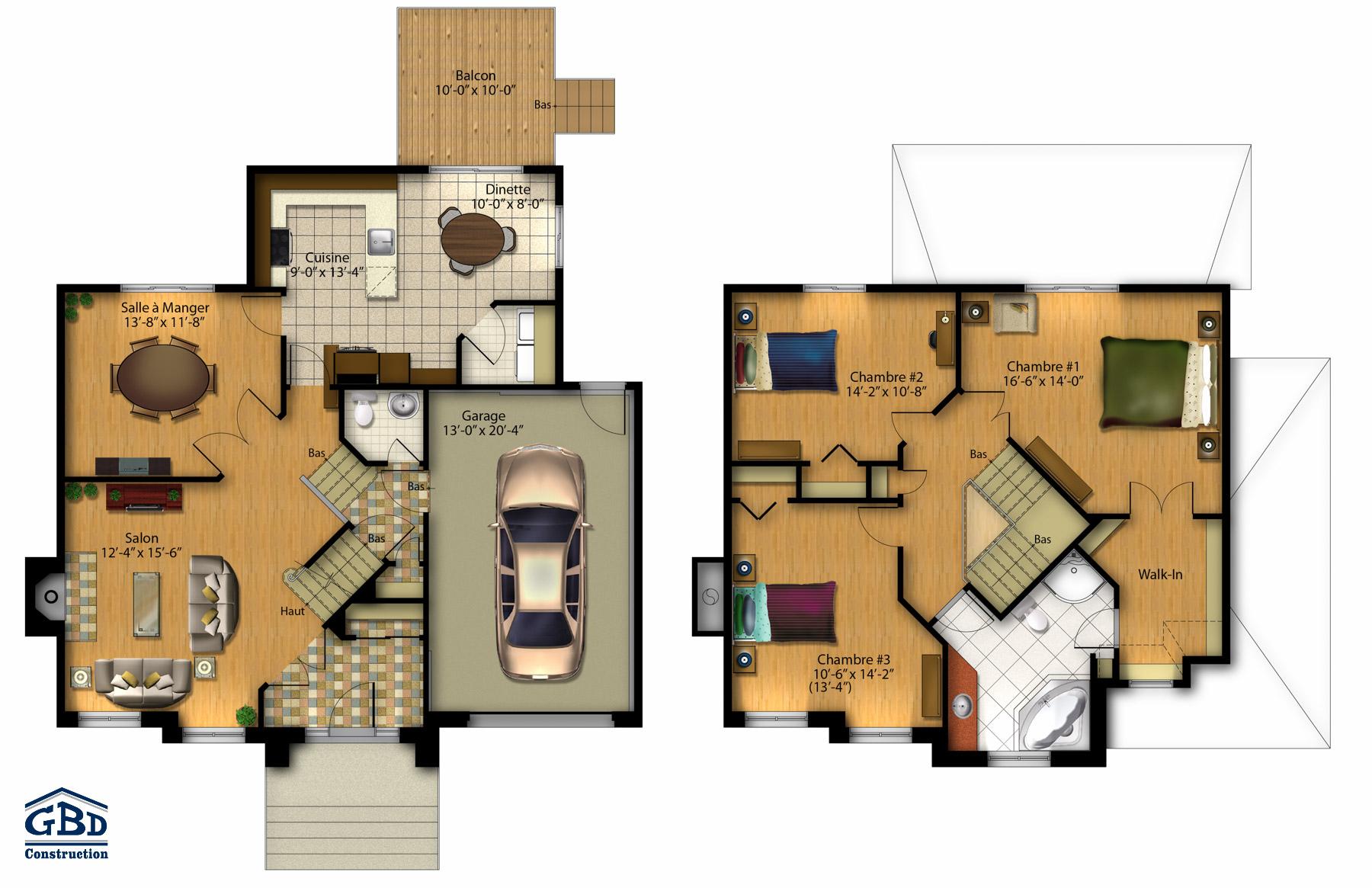 Tonnante iii maison neuve deux tages de type cottage for Plan maison deux etages