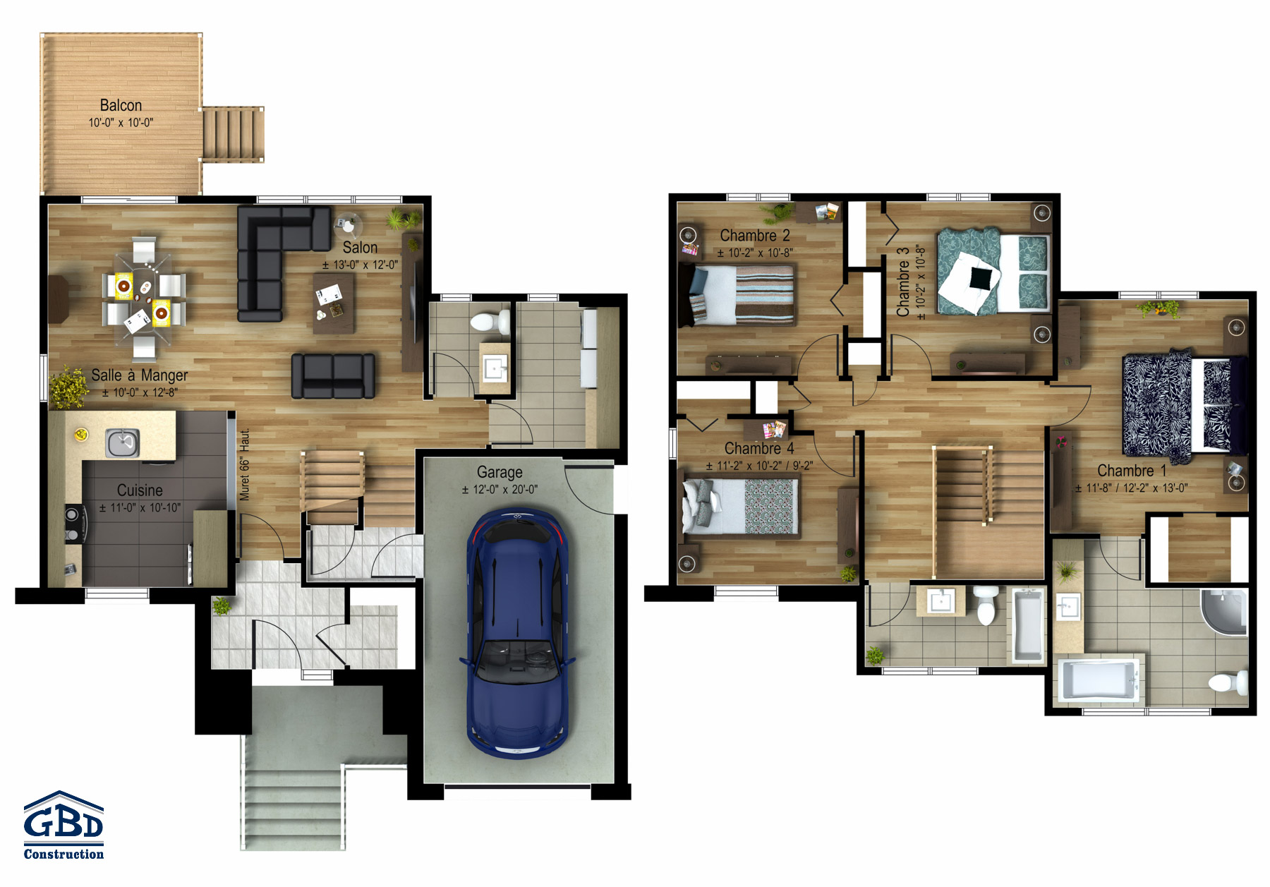 Volution maison neuve deux tages de type cottage for Plan maison 100m2 2 etages