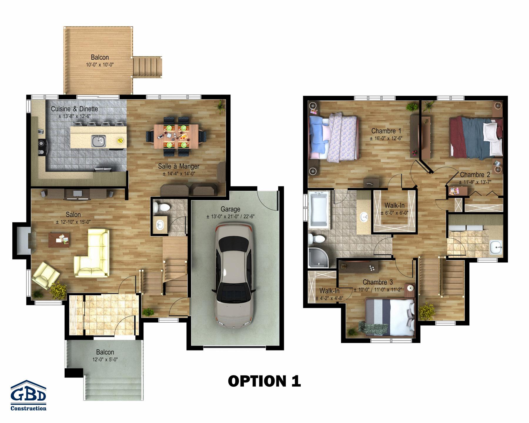Habitat 5th avenue maison neuve deux tages de type for Plan maison deux etages