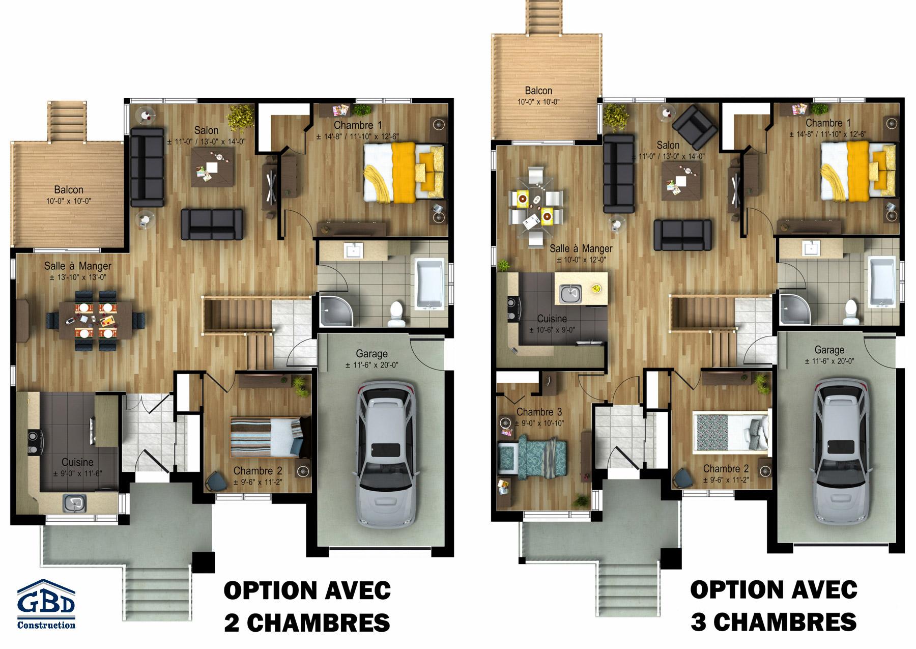 Mentor maison neuve un tage de type plain pied gbd - Plan maison jumelee par le garage ...