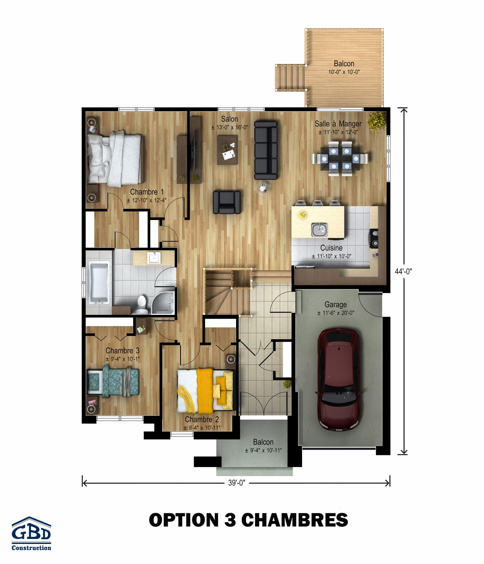 Picardie broadway maison neuve un tage de type for Plan de maison duplex 3 chambres