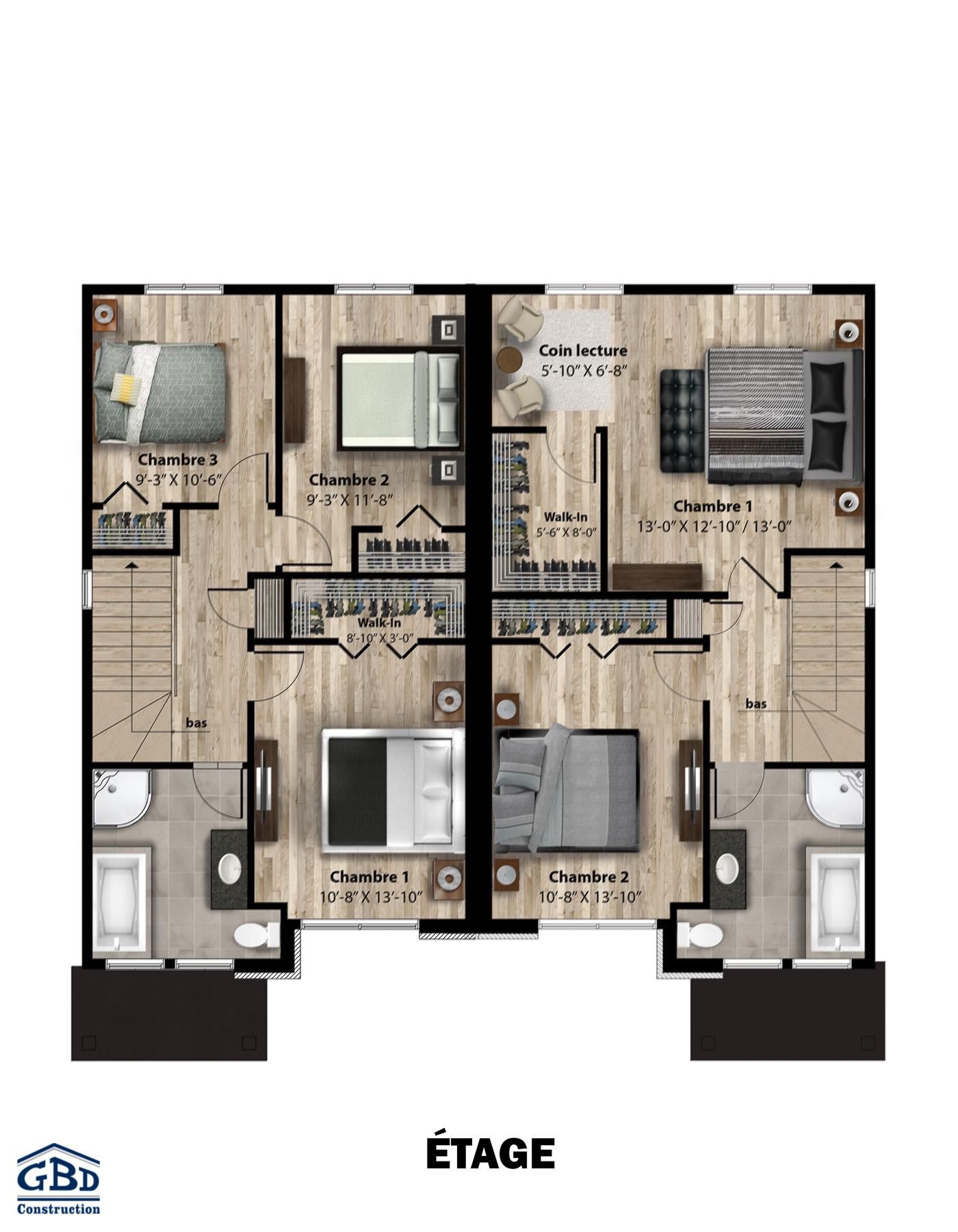 Saule maison neuve jumel e gbd construction for Plan de maison 2 chambres salon cuisine douche
