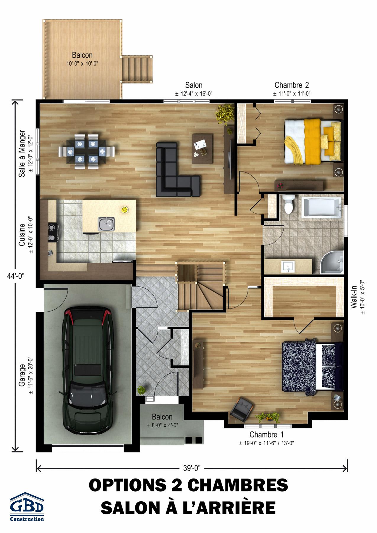 Sauvignon maison neuve un tage de type plain pied for Plan de maison 2 chambres salon cuisine douche